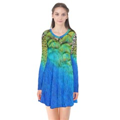Blue Peacock Feathers Flare Dress