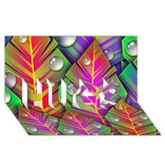 Bubbles Colorful Leaves Hugs 3d Greeting Card (8x4)