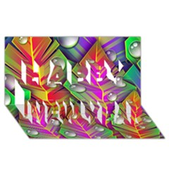 Bubbles Colorful Leaves Happy New Year 3d Greeting Card (8x4)