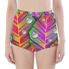 Bubbles Colorful Leaves High Waisted Bikini Bottoms