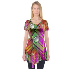 Bubbles Colorful Leaves Short Sleeve Tunic
