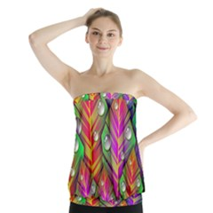 Bubbles Colorful Leaves Strapless Top