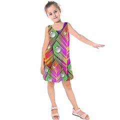 Bubbles Colorful Leaves Kids  Sleeveless Dress