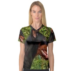 Doberman Pinscher Women s V-Neck Sport Mesh Tee