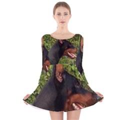 Doberman Pinscher Long Sleeve Velvet Skater Dress
