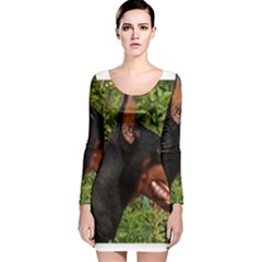 Doberman Pinscher Long Sleeve Velvet Bodycon Dress