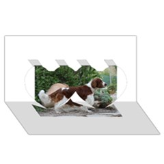 Welsh Springer Spaniel Full Twin Hearts 3D Greeting Card (8x4)