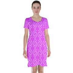 Pink elegant pattern Short Sleeve Nightdress