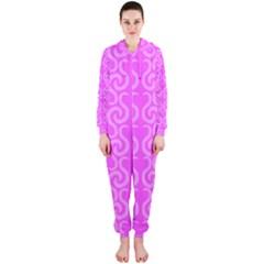 Pink elegant pattern Hooded Jumpsuit (Ladies)