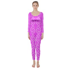 Pink elegant pattern Long Sleeve Catsuit