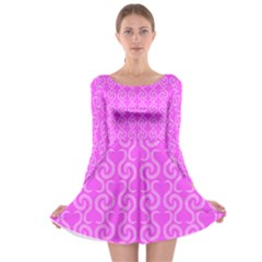 Pink elegant pattern Long Sleeve Skater Dress