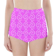 Pink elegant pattern High-Waisted Bikini Bottoms