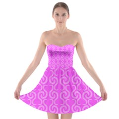 Pink elegant pattern Strapless Bra Top Dress