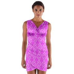 Pink elegant pattern Wrap Front Bodycon Dress