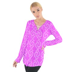 Pink elegant pattern Women s Tie Up Tee