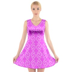 Pink elegant pattern V-Neck Sleeveless Skater Dress