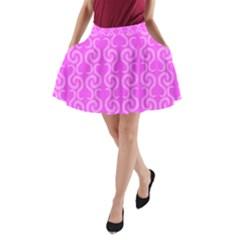 Pink elegant pattern A-Line Pocket Skirt