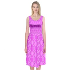 Pink elegant pattern Midi Sleeveless Dress
