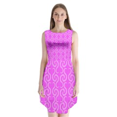 Pink elegant pattern Sleeveless Chiffon Dress