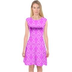 Pink elegant pattern Capsleeve Midi Dress