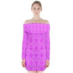 Pink elegant pattern Long Sleeve Off Shoulder Dress
