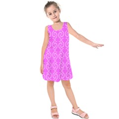 Pink elegant pattern Kids  Sleeveless Dress