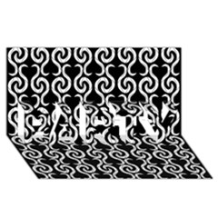 Black and white pattern PARTY 3D Greeting Card (8x4)