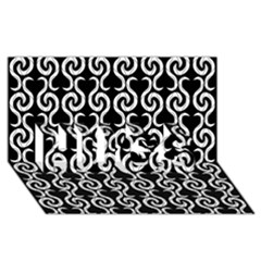 Black and white pattern HUGS 3D Greeting Card (8x4)