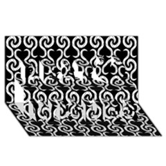 Black and white pattern Best Wish 3D Greeting Card (8x4)