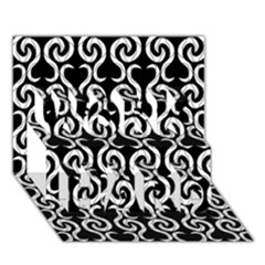 Black and white pattern WORK HARD 3D Greeting Card (7x5)