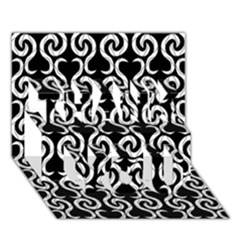 Black and white pattern THANK YOU 3D Greeting Card (7x5)