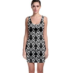 Black And White Pattern Sleeveless Bodycon Dress