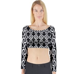 Black and white pattern Long Sleeve Crop Top