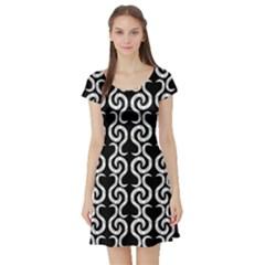 Black and white pattern Short Sleeve Skater Dress