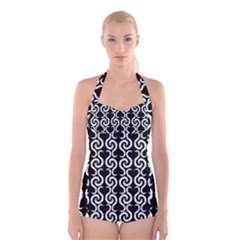Black and white pattern Boyleg Halter Swimsuit