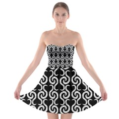 Black and white pattern Strapless Bra Top Dress