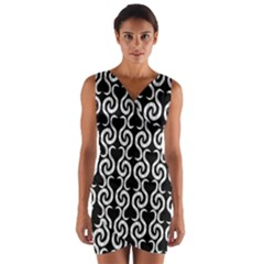 Black and white pattern Wrap Front Bodycon Dress