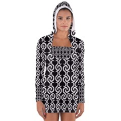 Black and white pattern Women s Long Sleeve Hooded T-shirt
