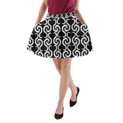 Black and white pattern A-Line Pocket Skirt