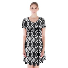 Black and white pattern Short Sleeve V-neck Flare Dress