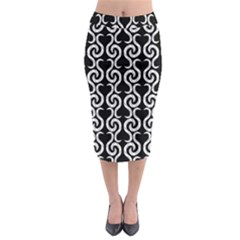 Black and white pattern Midi Pencil Skirt