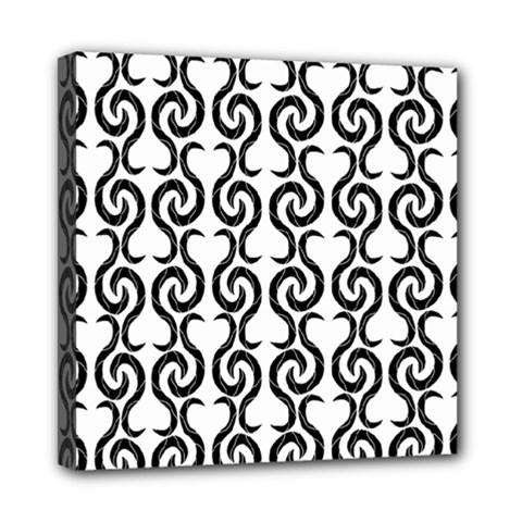 White and black elegant pattern Mini Canvas 8  x 8