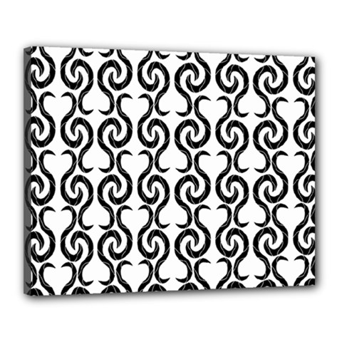 White and black elegant pattern Canvas 20  x 16