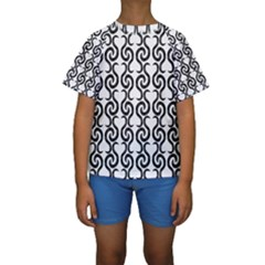 White and black elegant pattern Kids  Short Sleeve Swimwear