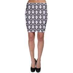 White and black elegant pattern Bodycon Skirt