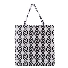 White and black elegant pattern Grocery Tote Bag