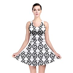 White and black elegant pattern Reversible Skater Dress
