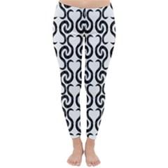 White and black elegant pattern Classic Winter Leggings