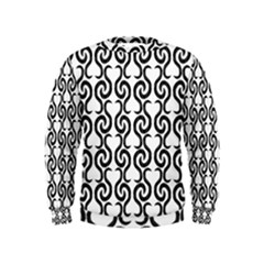 White and black elegant pattern Kids  Sweatshirt
