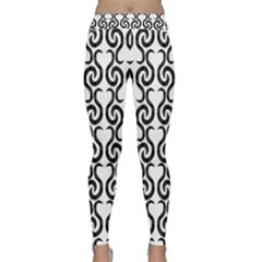 White and black elegant pattern Classic Yoga Leggings